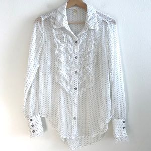 Free People White Polka Dot Ruffle Blouse